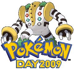 Bild: Regigigas und das Logo vom Pokémon Day 2009