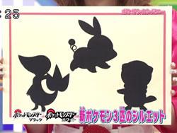 Die Silhouetten der drei Starter-Pokémon von Black und White